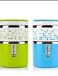 Stainless Steel Double-deck Insulation Lunch Box With Tank Color Random 11.5x11.5x17.5cm