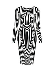Lishang Irregularidad Geométrica Stripes Dress vaina (Patrón de color al azar)
