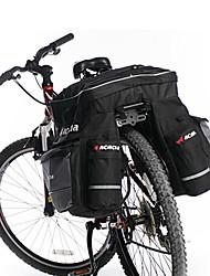 acacia 3-en-1 résistant à l'usure noir et gris sacoche de vélo avec housse de pluie