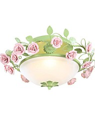Flush Mount Light nublado Glass Art Hierro Cerámica Roses Rural Country Style