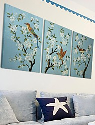Hand Painted Wall Art Wall Decor, Retro Style Handpainted Animal Birds And Blooms Wall Décor Set of 3