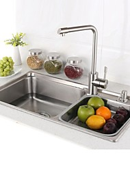L30.7 Inch Double Bowl 304 Stainless Steel Kitchen Sink Set with Drain Rack,Set of 6