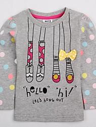 Детская футболка раунд воротник длинный рукав радуга горошек печати antumn зимние дети девочка тройники случайный печать