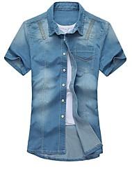 revers dos homens formais calça jeans de lavagem curto manga t-shirt verão