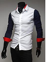 Kuxing Männer Casual Stitching Farbe Langarm-Shirt (dunkelblau)