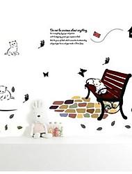Createforlife ® gato dos desenhos animados no banco berçário dos miúdos quarto adesivos de parede arte da parede decalques