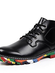Leather Men's Flat Heel Motorcycle Boots Fashion Sneakers with Lace-Up Shoes (More Colors)