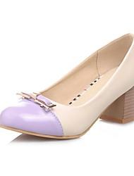 Bombas Chunky Heel Toe Ronda Charol Zapatos de mujer (más colores)