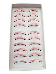 10Pairs European Natural Looking Handmade Red Thicker Crossed High-grade Chemical Fiber False Eyelashes