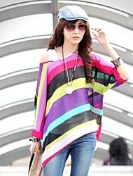 Women's Striped Multi-color Shirt , Casual/Print/Plus Sizes Slash Neck ¾ Sleeve