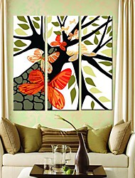 Stretched Canvas Art Butterflies And Trees Set of 3