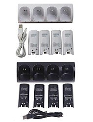 Blue Light Charger Dock Station + 4X2800mAh Battery Packs for Nintendo Wii Remote Controller