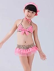 Girl's Korean Children Leopard Lace Bikini