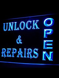Unlock Repairs Open Advertising LED Light Sign