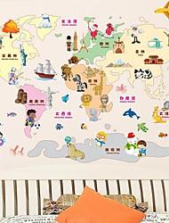 Carte mignonne de bande dessinée de Le World Design mural en plastique Stickerss (1pcs)