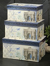 Paris Blue Theme Paper Card caja del favor (juego de 3)