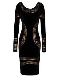 s&vestido de la envoltura de la manga larga del bodycon de impresión de oro alrededor del cuello de las mujeres z