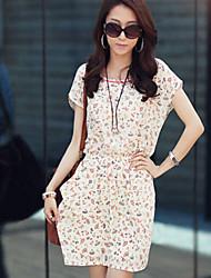 COCO ZHANG Women's Chiffon Batwing Sleeve Floral Print Dress