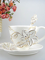 Romantic Delicate Floral White Ceramic Cup, Set of 3(Cup,Spoon,Saucer)