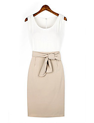 Lishang Simple Fitted Slim Round Collar Almond Cherrykeke Dress Without Belt