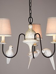 Bird Design Chandelier, 3 Light, Metal Painting with Cloth Shade,220-240V