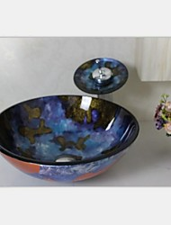 Bleu peint à la main ronde en verre trempé Évier avec robinet Waterfull, Ring et des eaux de drainage de montage
