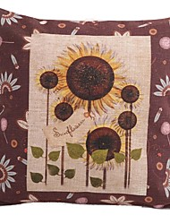 "Createforlife® 18""x 18"" Square Vintage Floral Printed Sunflower Cotton/Linen Decorative Pillow"