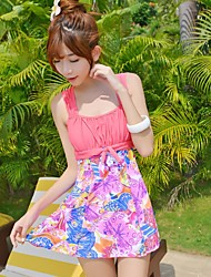 Women's Straped One-pieces , Floral Spandex Pink