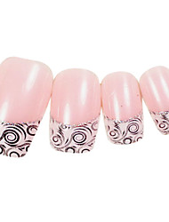 24PCS Totem Design Pink Nail Art French Tips With Glue