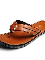 Uomo in pelle tacco piatto flip Flops Scarpe Pantofole (più colori)