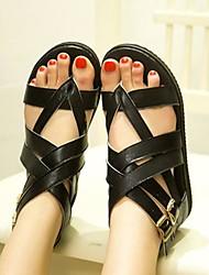 Frauen Flache Heel Sandaletten mit Zehenring Schnallenschuhe