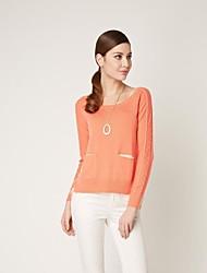 OSA Women's Long Sleeves O-Neck Mixed Colors Loose Shirts