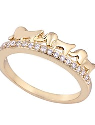 Women's New Fashion 18K Gold Plated  Shape Elephant  Design Zircon Ring WJ0019