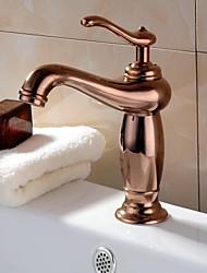 Rose Gold Un foro singolo maniglie lavandino rubinetto del bagno