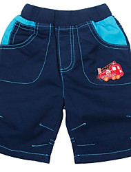 Boy's Fashion Shorts Casual Summer Pants With Car Embroidery Navy Cotton Children Shorts Random Print
