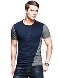 Kuegou®  Men's Placket Collar Color Matching  Short Sleeve Slim Fit T-Shirt