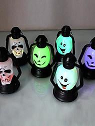 Coway Seven Color LED Nightlight Nightlight Halloween Supplies Smiley Skull(Random Color)