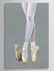 Hand Painted Oil Painting People Ballet Dancer And Cute Cat with Stretched Frame