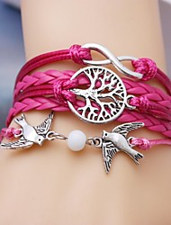 pássaro de couro liga de multicamadas pulseira e infinita árvore pulseira artesanal