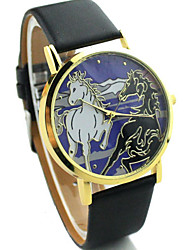 AONECE pleine de mode de couleur du cheval Belt Watch-Noir