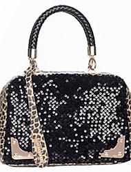 atemishi todo el bolso de leopardo partido del paillette
