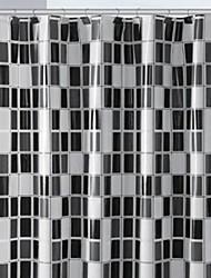 Black-and- White PEVA Shower Curtain
