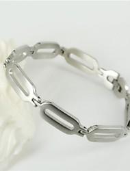 aço inoxidável 316L prata pulseiras cadeia oval da forma dos homens e simples