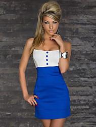 QSMX Sexy бретелек Bodycon платье с кнопкой (синий)