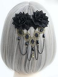 Handmade Black Rose Gothic Lolita capacete com contas borla