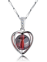 Pure Silver Necklace With Garnet Pendant