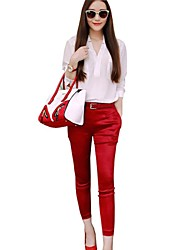 Women Stand White T-shirt Red Pant Suits