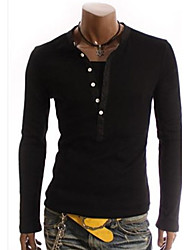 Tizeland Men's Stand Collar Two Piece Like Long Sleeve T-Shirt