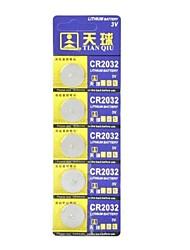 Tianqiu 3V de Li-ion CR2032 pilas de 5PCS