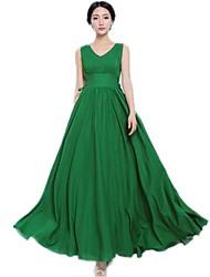 Vestido de color verde puro de la Mujer HGJ